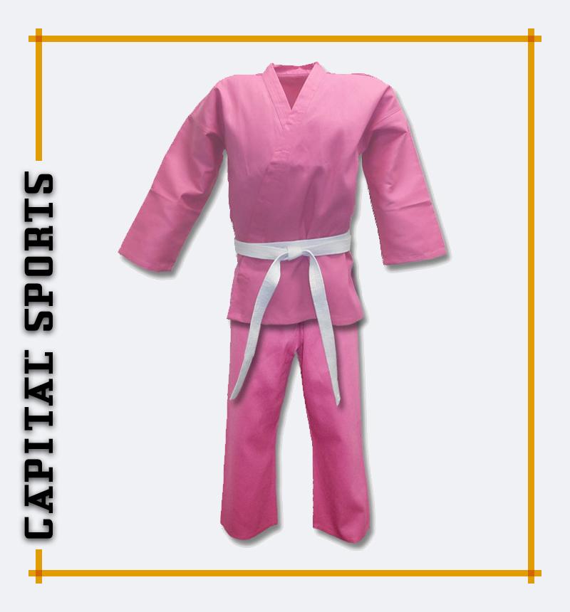 Lightweight pink karate uniform
